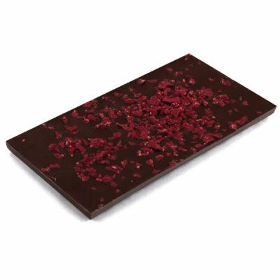 Zartbitter Schokoladentafel mit Himbeerstückchen